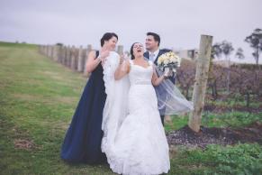 Belinda as a bride laughing
